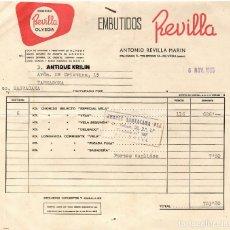 Facturas antiguas: OLVEGA / SORIA / FACTURA ENBUTIDOS REVILLA + CERTIFICADO VETERINARIO 1965. Lote 279360898