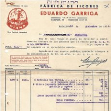 Facturas antiguas: BADALONA / ANIS DIANA / FABRICA DE LICORES EDUARDO GARRIGA 1958. Lote 279361213