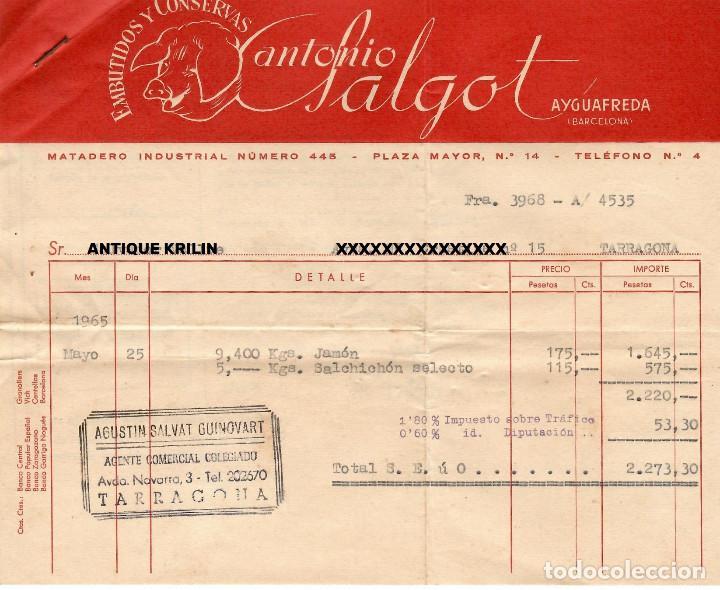 AYGUAFREDA / EMBUTIDOS Y CONSERVAS ANTONIO SALGOT + CERTIFICADO VETERINARIO 1965 (Coleccionismo - Documentos - Facturas Antiguas)