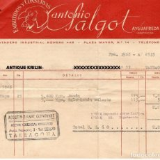 Facturas antiguas: AYGUAFREDA / EMBUTIDOS Y CONSERVAS ANTONIO SALGOT + CERTIFICADO VETERINARIO 1965. Lote 279361763