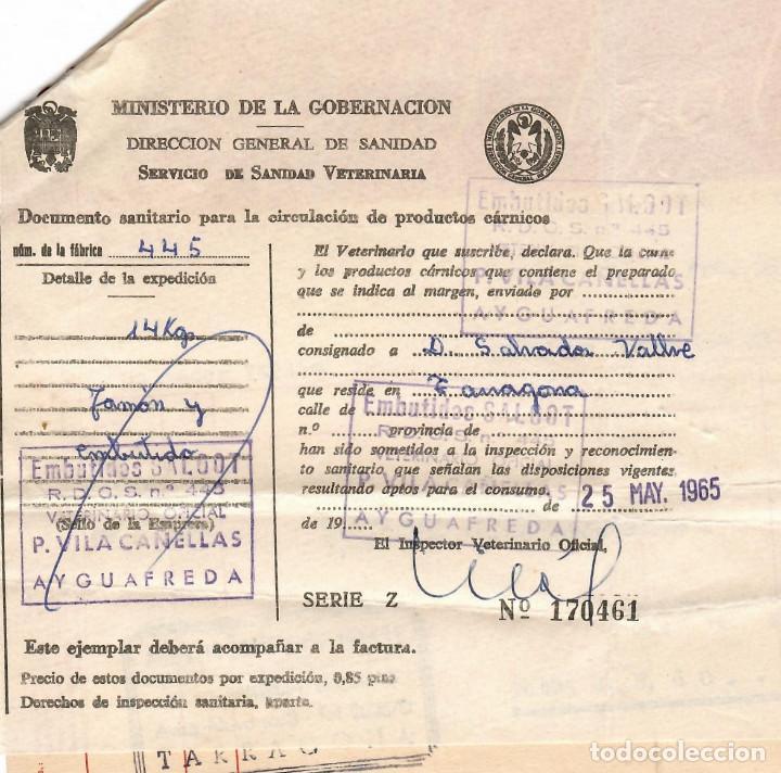 Facturas antiguas: AYGUAFREDA / EMBUTIDOS Y CONSERVAS ANTONIO SALGOT + CERTIFICADO VETERINARIO 1965 - Foto 2 - 279361763
