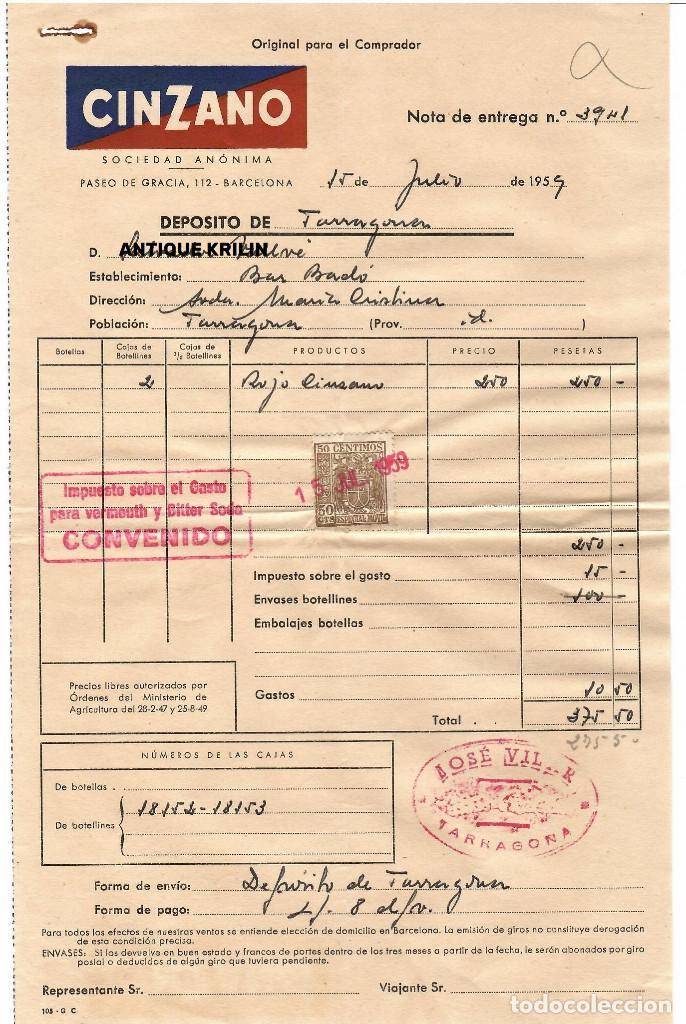 FACTURA CINZANO 1959 / NOTA DE ENTREGA (Coleccionismo - Documentos - Facturas Antiguas)
