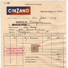 Facturas antiguas: FACTURA CINZANO 1959 / NOTA DE ENTREGA. Lote 279362293