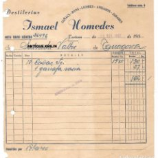 Facturas antiguas: TORTOSA / DESTILERIAS ISMAEL HOMEDES / COÑACS - RONS - LICORES - ANISADOS - JARABES 1957. Lote 279363653