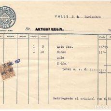 Facturas antiguas: VALLS / LA LICORERA VALLENSE 1957. Lote 279364698