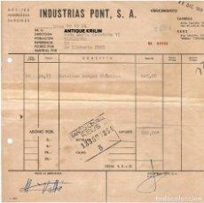 Facturas antiguas: REUS / TARREGA / INDUSTRIAS PONT S.A. / ACEITES ALMENDRAS JABONES 1964. Lote 279368988