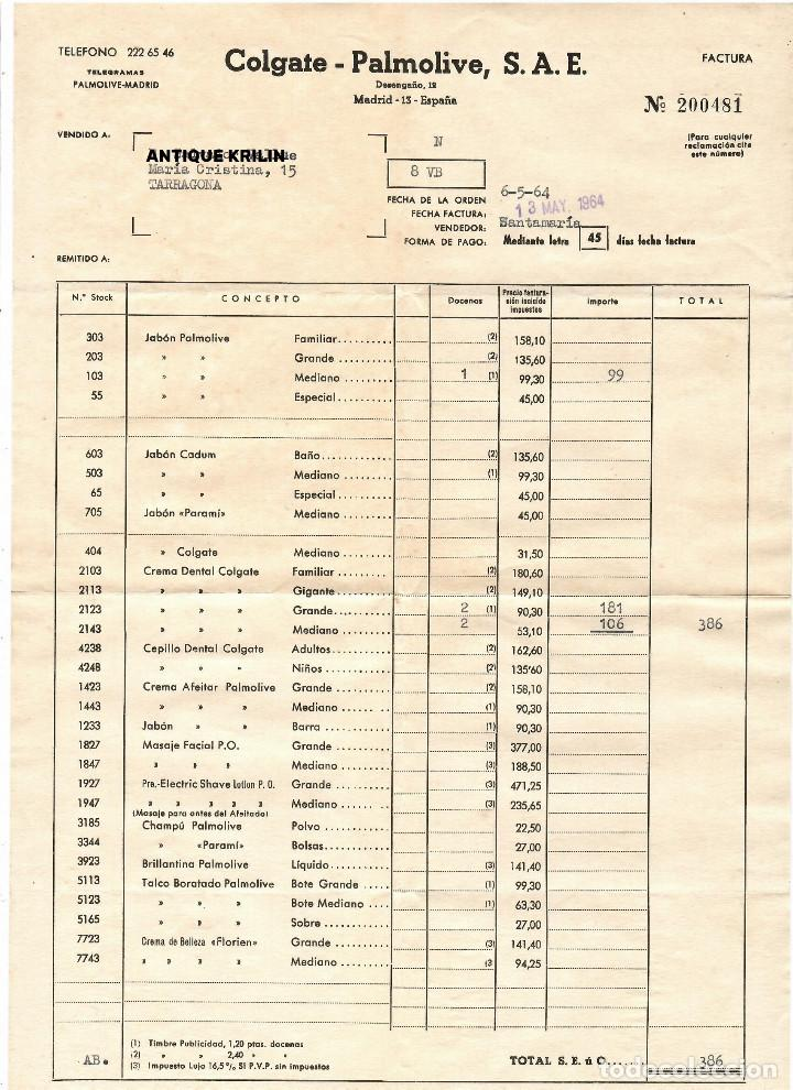 FACTURA COLGATE - PALMOLIVE 1964 (Coleccionismo - Documentos - Facturas Antiguas)