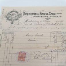 Facturas antiguas: MADRID. SOBRINOS DE ANGEL CASO. ALMACEN MERCERÍA Y PASAMANERIA. FACTURA 1914 CON TIMBRE FISCAL. Lote 280390833