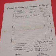 Facturas antiguas: ANTIGUA FACTURA DE LA CAMARA DE COMERCIO E INDUSTRIA DE BURGOS...1929.... Lote 280575793