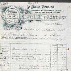 Factures anciennes: FACTURA. LA NUEVA VIZCAÍNA. FERRETERÍA Y QUINCALLA. HORTELANO Y MARTÍNEZ. 1908. VALLADOLID. Lote 284952538