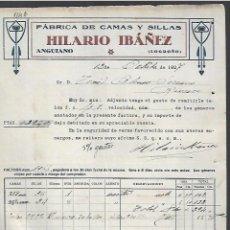 Factures anciennes: FACTURA. CAMAS Y SILLAS HILARIO IBÁÑEZ. ANGUIANO, LOGROÑO. 1927. Lote 285035413