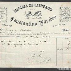 Factures anciennes: FACTURA. EMPRESA DE CARRUAJES. CONSTANTINO PAREDES. 1913. CADIZ. Lote 285215358