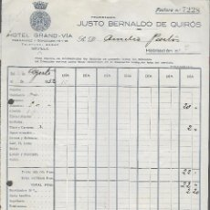 Facturas antiguas: SEVILLA,- HOTEL GRAND - VIA, AÑO 1933, VER FOTO. Lote 287211643