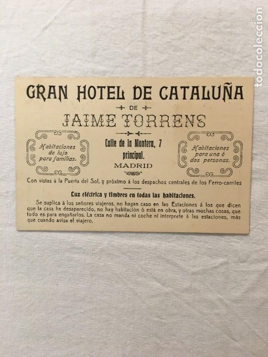 TARJETA PUBLICITARIA / FACTURA. GRAN HOTEL DE CATALUÑA DE JAIME TORRENS. MADRID. C.1910 (Coleccionismo - Documentos - Facturas Antiguas)