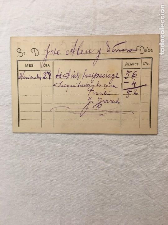 Facturas antiguas: Tarjeta Publicitaria / Factura. Gran Hotel de Cataluña de Jaime Torrens. Madrid. c.1910 - Foto 2 - 287724173