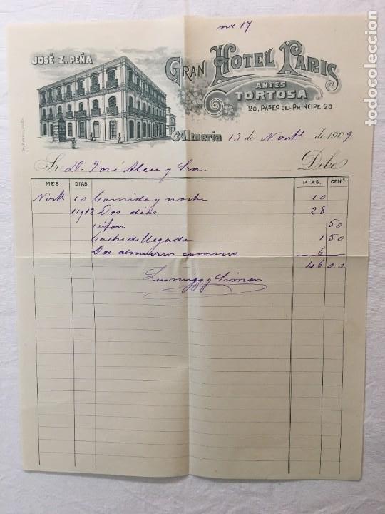 FACTURA MANUSCRITA ORIGINAL. GRAN HOTEL PARIS, ANTES TORTOSA. ALMERIA, 1909. (Coleccionismo - Documentos - Facturas Antiguas)