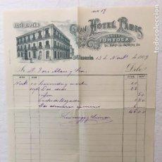 Facturas antiguas: FACTURA MANUSCRITA ORIGINAL. GRAN HOTEL PARIS, ANTES TORTOSA. ALMERIA, 1909.. Lote 287726813