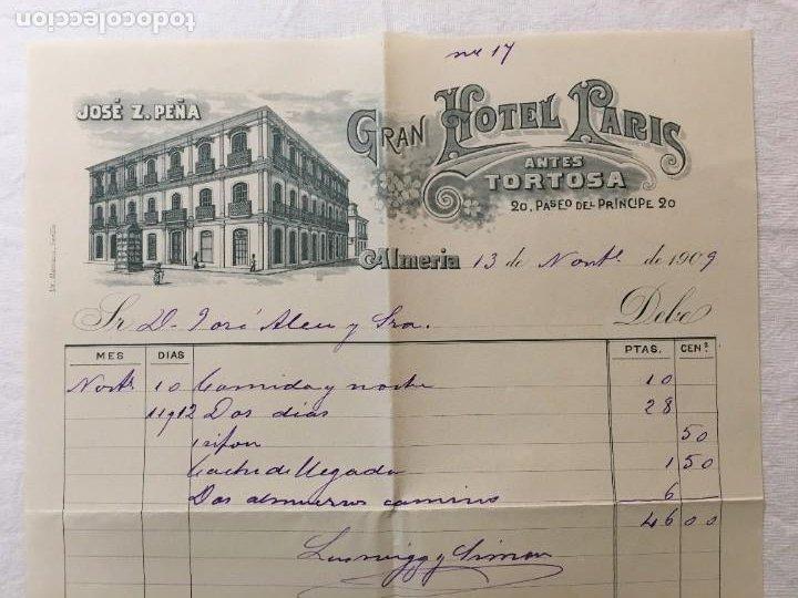 Facturas antiguas: Factura Manuscrita Original. Gran Hotel Paris, antes Tortosa. Almeria, 1909. - Foto 2 - 287726813