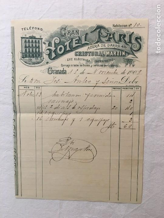 FACTURA MANUSCRITA ORIGINAL. GRAN HOTEL PARIS. ACERA DE DARRO. CRISTOBAL MARTÍN. GRANADA,1909 (Coleccionismo - Documentos - Facturas Antiguas)