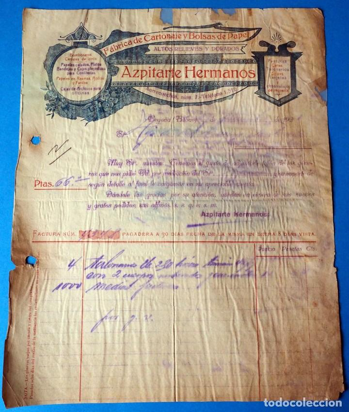 FACTURA:AZPITARTE HERMANOS. FÁBRICA DE CARTONES Y BOLSAS DE PAPEL. BEGOÑA ( BILBAO). AÑO 1923 (Coleccionismo - Documentos - Facturas Antiguas)