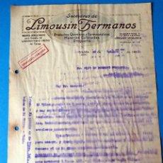 Factures anciennes: ANTIGUA FACTURA: LIMOUSIN HERMANOS. PRODUCTOS QUÍMICOS Y FARMACÉUTICOS. TOLOSA. AÑO 1922. Lote 287784013
