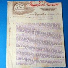 Fatture antiche: FACTURA: JUAN JOSE NAVARRO. EXPORTACIÓN DE PIMIENTO MOLIDO .ESPINARDO ( MURCIA).AÑO 1910. Lote 287785663