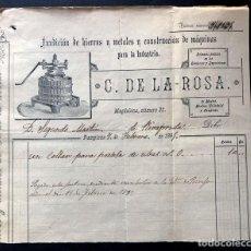 Facturas antiguas: PAMPLONA AÑO 1895 / FUNDICIÓN DE HIERROS Y CONSTRUCCION DE MÁQUINAS / C. DE LA ROSA / NAVARRA. Lote 289823218