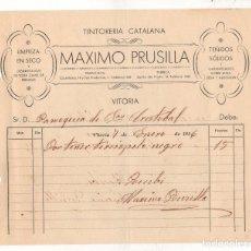 Facturas antiguas: FACTURA TINTORERIA CATALANA MAXIMO PRUSILLA. PARROQUIA SAN CRISTOBAL. VITORIA. ALAVA. AÑO 1936. Lote 289823583