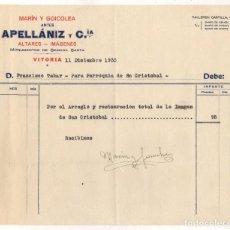 Facturas antiguas: FACTURA ALTARES - IMAGENES MARIN Y GOICOLEA. VITORIA. ALAVA. AÑO 1935. Lote 289823753