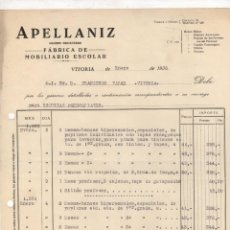 Facturas antiguas: FACTURA FABRICA DE MOBILIARIO ESCOLAR APELLANIZ. VITORIA, ALAA. AÑO 1936. PARA ESCUELAS PARROQUIALES. Lote 289824228