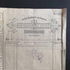 Facturas antiguas: PAMPLONA AÑO 1886 / ESTABLECIMIENTO TIPOGRÁFICO / FORTUNATO J. ISTÚRIZ / NAVARRA. Lote 289824508