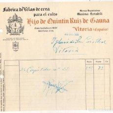 Facturas antiguas: FACTURA FABRICA DE VELAS DE CERA HIJO DE QUINTIN RUIZ DE GAUNA. VITORIA, ALAVA. AÑO 1935. Lote 289824528