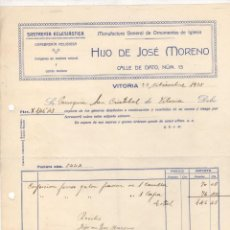 Facturas antiguas: FACTURA SASTRERIA ECLESIASTICA HIJO DE JOSE MORENO. VITORIA, ALAVA. AÑO 1935. Lote 289825238