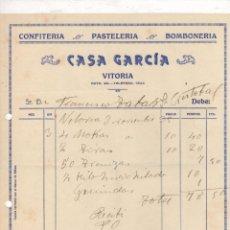 Facturas antiguas: FACTURA CONFITERIA - PASTELERIA - BOMBONERIA CASA GARCIA. VITORIA, ALAVA. AÑO 1935. Lote 289825398