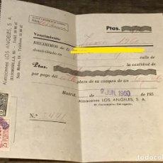 Facturas antiguas: FACTURA/RECIBO DE ALMACENES LOS ANGELES DEL AÑO 1960 JUNIO. Lote 292389508