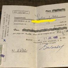 Facturas antiguas: FACTURA/RECIBO DE ALMACENES LOS ANGELES DEL AÑO 1960 JULIO. Lote 292389548