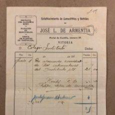 Facturas antiguas: JOSÉ L. DE ARMENTIA (VITORIA), ESTABLECIMIENTO DE COMESTIBLES Y BEBIDAS DEL AÑO 1910.. Lote 293239288