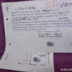 Facturas antiguas: 1936, ALCOY, FACTURA DE JORNALES Y RECIBO FIRMADO, SELLOS DE DIFERENTES SINDICATOS, INTERESANTE. Lote 293419733