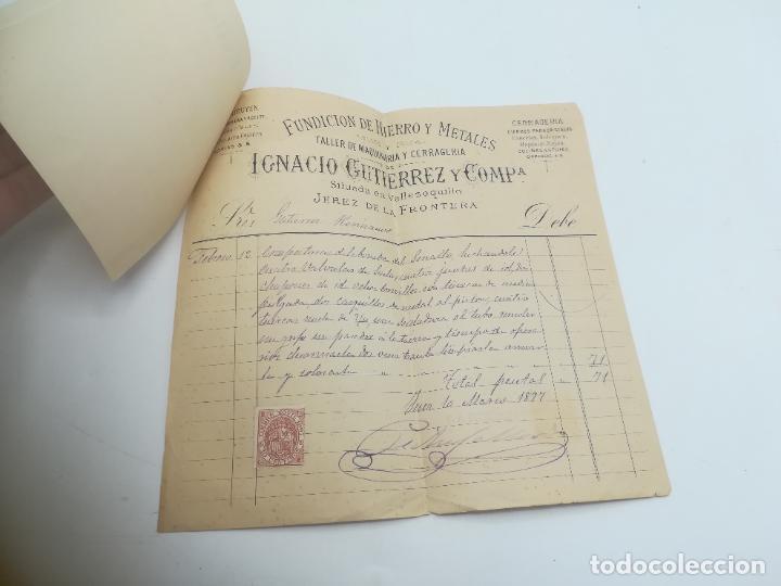 Facturas antiguas: FACTURA. IGNACIO GUTIERREZ Y COMPª. FUNDICION DE HIERRO Y METALES. JEREZ DE LA FRONTERA. 1897. - Foto 2 - 293537598