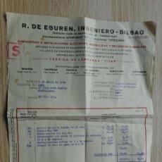 Facturas antiguas: ANTIGUA FACTURA.R.DE EGUREN.INGENIERO.FABRICA LAMPARAS TITAN.ELECTRICIDAD.BILBAO 1936. Lote 293993518