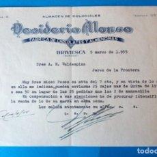 Facturas antiguas: ANTIGUA FACTURA: DESIDERIO ALONSO. FABRICA DE CHOCOLATES Y ALMENDRAS. BRIVIESCA ( BURGOS). AÑO 1955. Lote 294490003
