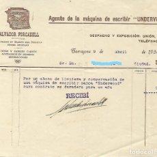 Facturas antiguas: TARRAGONA - FACTURA ANTIGUA - UNDERWOOD - SALVADOR FORCADELL - AÑO 1924. Lote 294493293