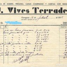 Facturas antiguas: TARRAGONA - FACTURA ANTIGUA - J. VIVES TORRADES - FABRICA SOMIERS - AÑO 1935. Lote 294493483