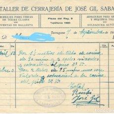 Facturas antiguas: TARRAGONA - FACTURA ANTIGUA - TALLER DE CERRAJERIA DE JOSE GIL SABATE - AÑO 1940. Lote 294494528
