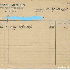 Facturas antiguas: TARRAGONA - FACTURA ANTIGUA - RAFAEL MUTLLO - AÑO 1941. Lote 294494663