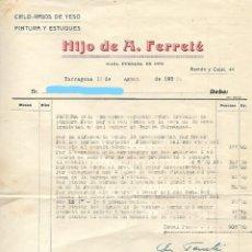 Facturas antiguas: TARRAGONA - FACTURA ANTIGUA - HIJO DE A. FERRETE - AÑO 1935. Lote 294494838