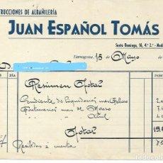 Facturas antiguas: TARRAGONA - FACTURA ANTIGUA - JUAN ESPAÑOL TOMAS - AÑO 1952. Lote 294494988