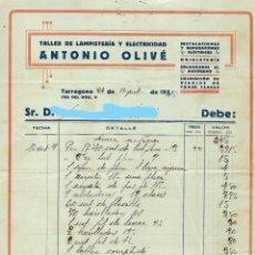Facturas antiguas: TARRAGONA - FACTURA ANTIGUA - QNTONIO OLIVE - TALLER LAMPISTERIA - AÑO 1935. Lote 294497133