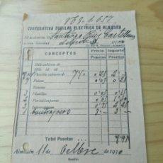 Facturas antiguas: AÑO 1930 - COOPERATIVA POPULAR ELÉCTRICA - ALMADEN (CIUDAD REAL) - FACTURA INSTALACIONES ELECTRICAS.. Lote 294945558