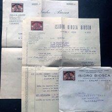 Facturas antiguas: CALAF 1939 / ISIDRO BIOSCA BIOSCA / FÁBRICA CEMENTO / FACTURAS Y SOBRE - CENSURA MILITAR / BARCELONA. Lote 294957288